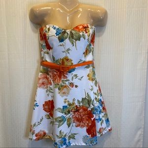 NWT Janice strapless floral dress with orange belt